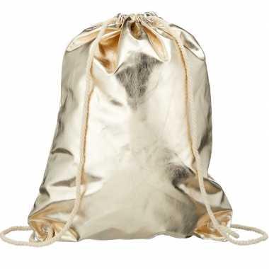 Goedkope metallic gouden sporttasje/zwemtasje met rijgkoord rugzak