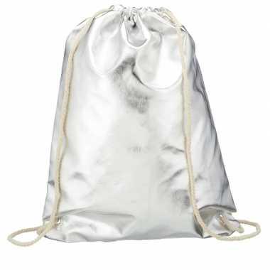 Goedkope metallic zilveren sporttasje/zwemtasje met rijgkoord rugzak