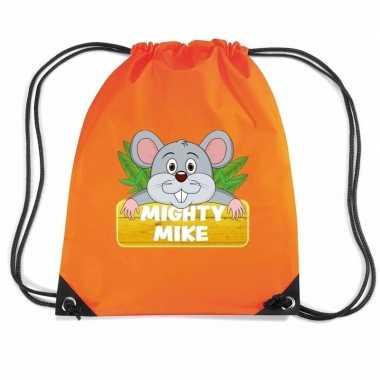 Goedkope mighty mike de muis rugtas / gymtas oranje voor kinderen rug