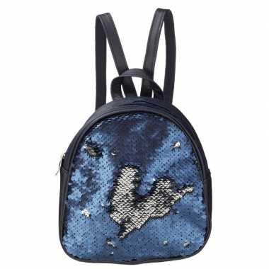 Goedkope mini rugzak blauw met pailletten 19 cm festival musthave