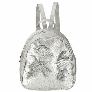 Goedkope mini rugzak zilver met pailletten 19 cm festival musthave