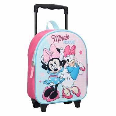 Goedkope minnie mouse handbagage reiskoffer/trolley 31 cm voor kinderen rugzak