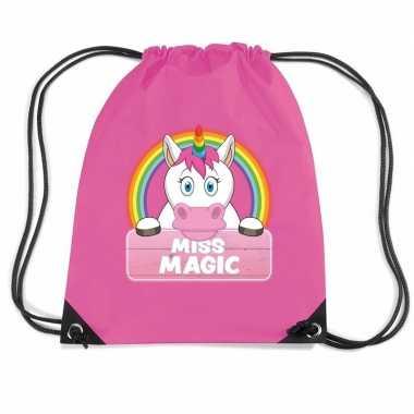 Goedkope miss magic eenhoorn rugtas / gymtas roze voor kinderen rugza