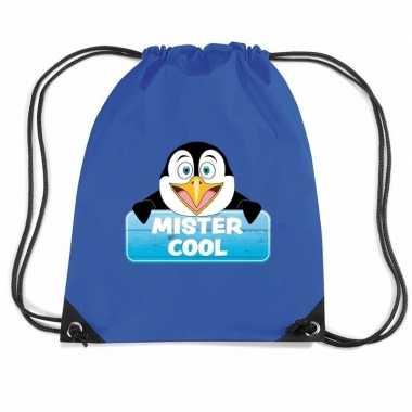 Goedkope mister cool de pinguin rugtas / gymtas blauw voor kinderen r
