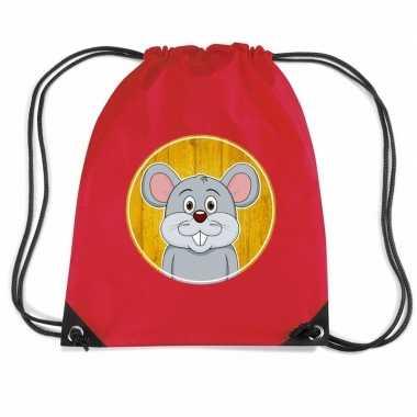 Goedkope muizen rugtas / gymtas rood voor kinderen rugzak