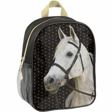 Goedkope paarden kleuter/peuter schooltasje zwart 28 x 22 x 10 cm rug