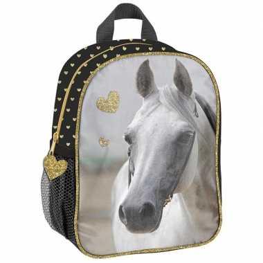 Goedkope paarden kleuter/peuter schooltasje zwart/goud 28 x 22 x 10 c