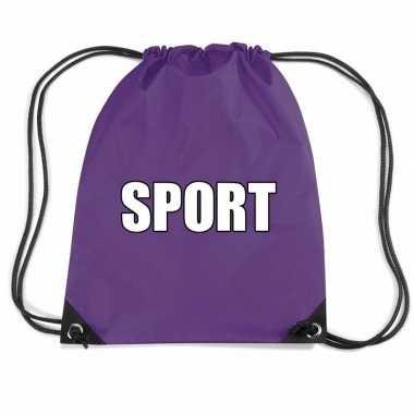 Goedkope paars sport rugtasje/ gymtasje kinderen rugzak