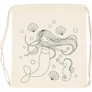 Goedkope pakket van 6x stuks inkleurbare rugzakjes zeemeermin print 41 cm