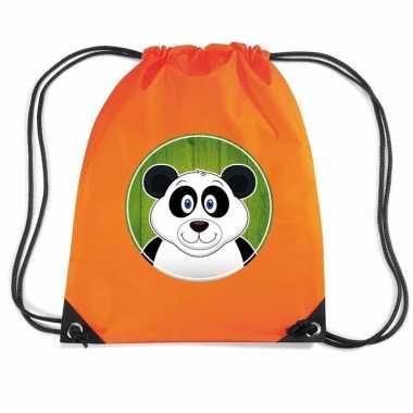 Goedkope panda rugtas / gymtas oranje voor kinderen rugzak