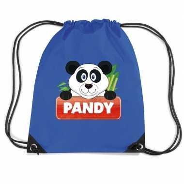 Goedkope pandy de panda rugtas / gymtas blauw voor kinderen rugzak