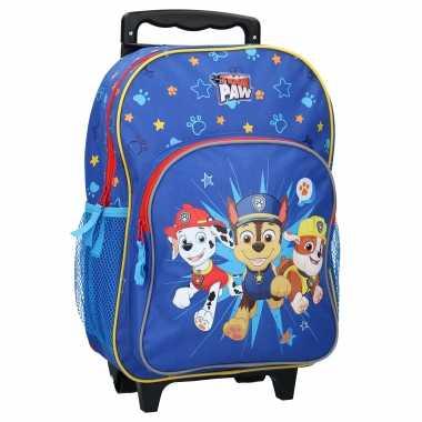Goedkope paw patrol handbagage reiskoffer/trolley 38 cm voor kinderen rugzak