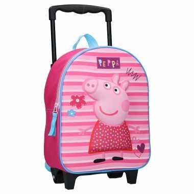 Goedkope peppa pig handbagage reiskoffer/trolley 31 cm voor kinderen rugzak