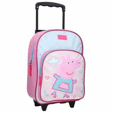 Goedkope peppa pig handbagage reiskoffer/trolley 38 cm voor kinderen rugzak
