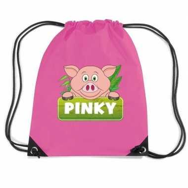 Goedkope pinky the pig varkens rugtas / gymtas roze voor kinderen rug
