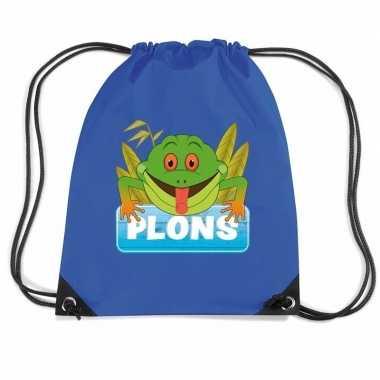 Goedkope plons de kikker rugtas / gymtas blauw voor kinderen rugzak