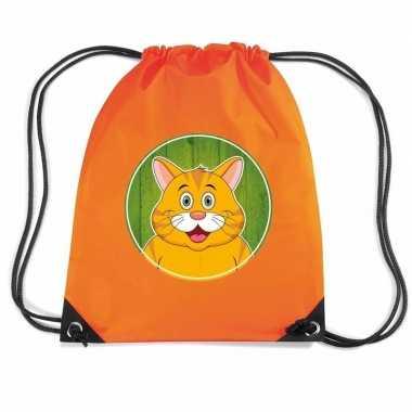 Goedkope rode katten / poes rugtas / gymtas oranje voor kinderen rugz