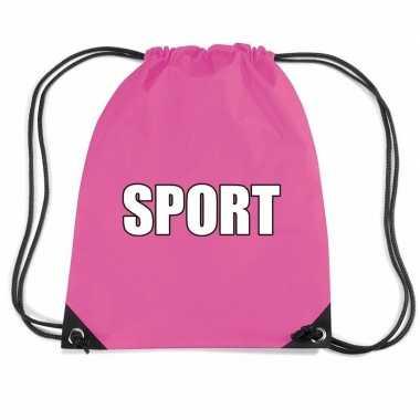 Goedkope roze sport rugtasje/ gymtasje kinderen rugzak
