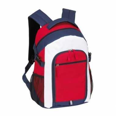 Goedkope rugzak/rugtas rood/wit/blauw 44 cm