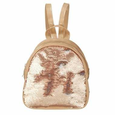 Goedkope rugzak/schooltas rose goud met pailletten 19 cm voor meisjes