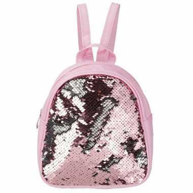 ca9fd6f9b7b Goedkope rugzak/schooltas roze met pailletten 19 cm voor meisjes ...