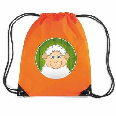 Goedkope schapen rugtas / gymtas oranje voor kinderen rugzak