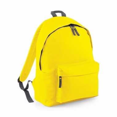 Goedkope schooltas geel 18 liter rugzak