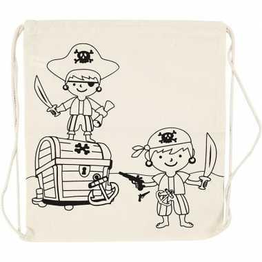 Goedkope set van 4x stuks inkleurbare katoenen rugzakjes piraat 41 cm