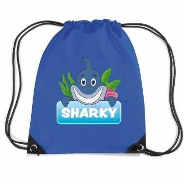 Goedkope sharky de haai rugtas / gymtas blauw voor kinderen rugzak