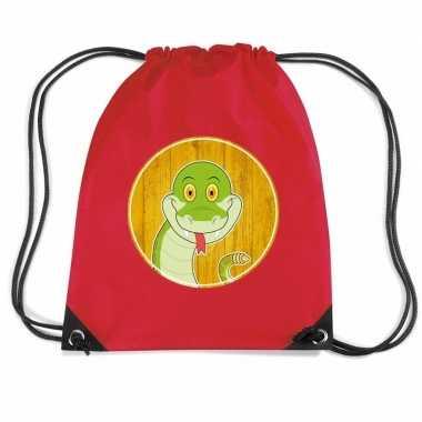 Goedkope slangen rugtas / gymtas rood voor kinderen rugzak