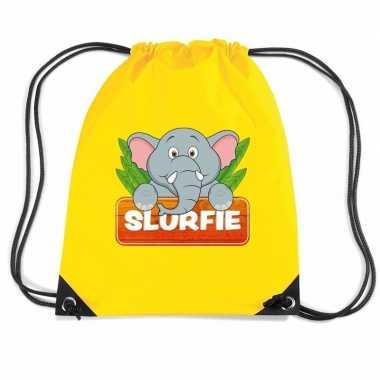 Goedkope slurfie de olifant rugtas / gymtas geel voor kinderen rugzak