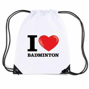 Goedkope sporttas met rijgkoord i love badminton rugzak