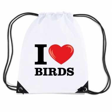 Goedkope sporttas met rijgkoord i love birds rugzak