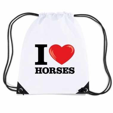 Goedkope sporttas met rijgkoord i love horses rugzak
