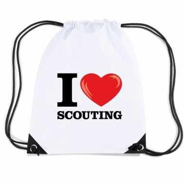 Goedkope sporttas met rijgkoord i love scouting rugzak