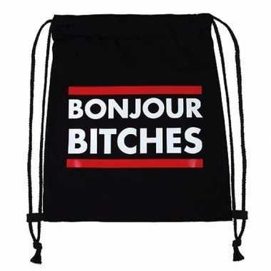 Goedkope sporttasje met tekst bonjour bitches rugzak