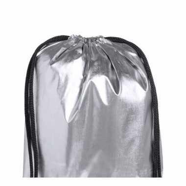Goedkope sporttasje metallic zilver rugzak