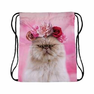 Goedkope sporttasje roze met katten/poezen kop rugzak
