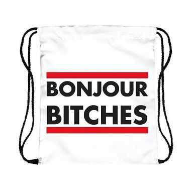 Goedkope sporttasje wit bonjour bitches rugzak