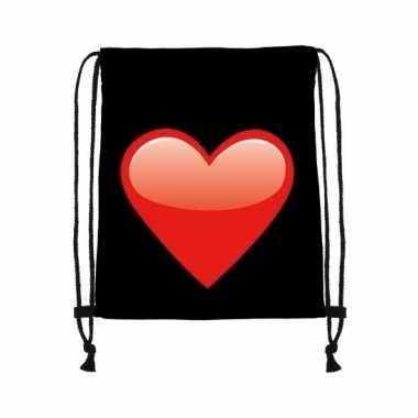 Goedkope sporttasje zwart met een rood hart rugzak