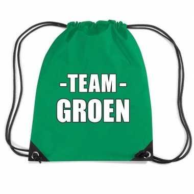 Goedkope team groen rugtas voor bedrijfsuitje rugzak