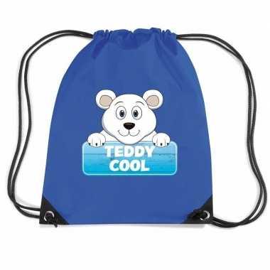 Goedkope teddy cool de ijsbeer rugtas / gymtas blauw voor kinderen ru