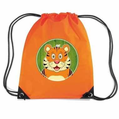 Goedkope tijgers rugtas / gymtas oranje voor kinderen rugzak