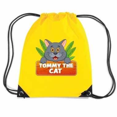 Goedkope tommy the cat katten rugtas / gymtas geel voor kinderen rugz