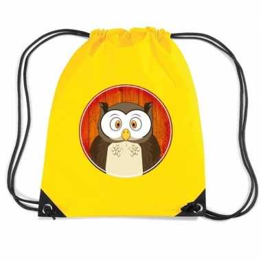 Goedkope uilen rugtas / gymtas geel voor kinderen rugzak