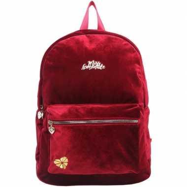 Goedkope velvet backpack/rugzak bordeaux rood 32 x 42 cm miss lemonad
