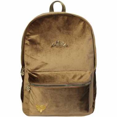 Goedkope velvet backpack/rugzak camelbruin/goud 32 x 42 cm miss lemon
