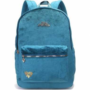Goedkope velvet backpack/rugzak petrol blauw/groen 32 x 42 cm miss le