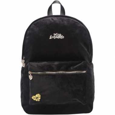Goedkope velvet backpack/rugzak zwart 32 x 42 cm miss lemonade voor d