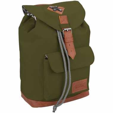 Goedkope vintage rugzak/rugtas legergroen 29 cm voor kinderen